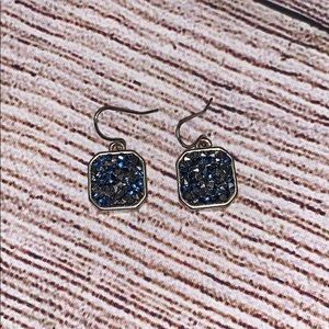 Kenneth Cole Blue and Gray Druzy Earrings